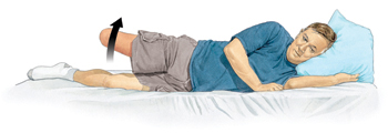 Man with amputated leg lying on side with head supported by pillow. Arrow shows him lifting amputated leg up.