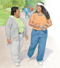 Two women walking together outdoors wearing comfortable clothes and pedometers.