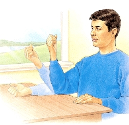 Man sitting at table with elbow resting on table. He is straightening arm flat on table, then bending it up.