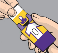 Close-up view of hands holding naloxone auto-injector.