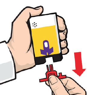Illustration of one hand holding the auto injector and the other removing the red safety guard.