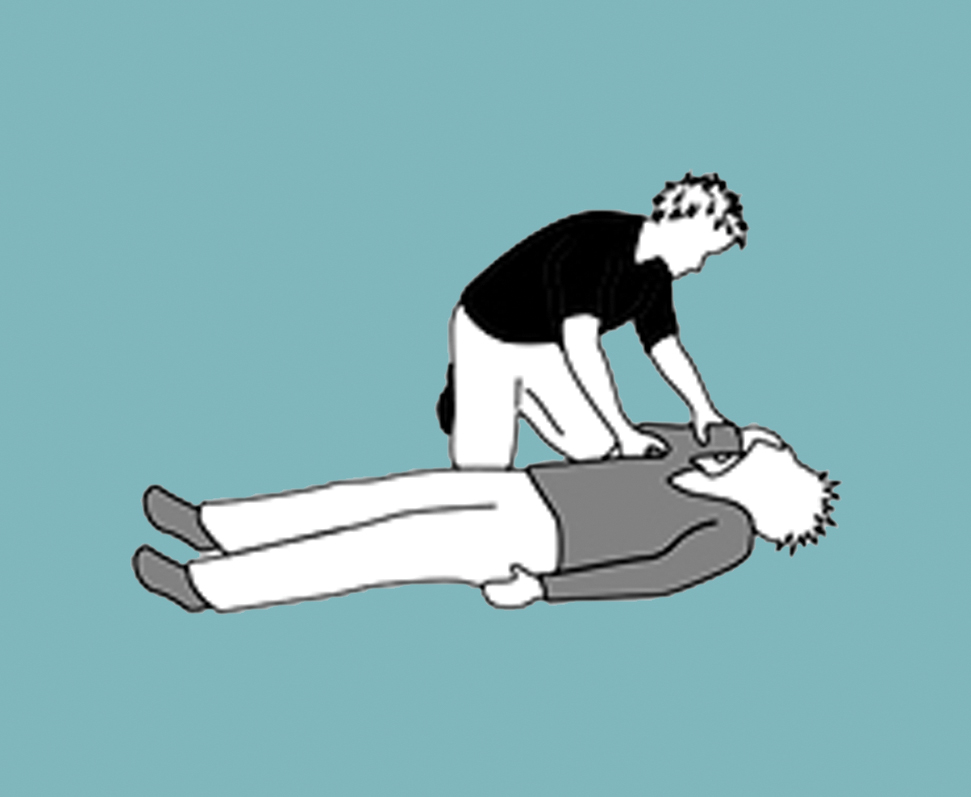 Person moving unconscious man's arm into a bent position over the shoulder.
