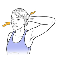 Woman holding hand to back of head doing neck isometric exercise.