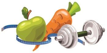 Image of fruits and vegetables along with weights and a measuring tape.