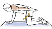 Man on all fours with left arm lifted up to the back doing reach and hold exercise.