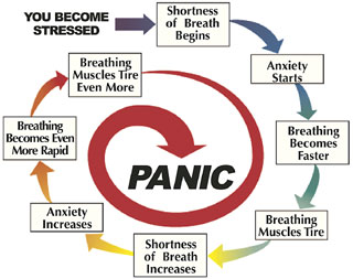 Panic cycle: You become stressed. Shortness of breath begins. Anxiety starts. Breathing becomes faster. Breathing muscles tire. Shortness of breath increases. Anxiety increases. Breathing becomes even more rapid. Breathing muscles tire even more.