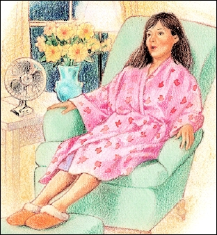 Woman in robe sitting in chair doing deep breathing.
