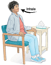 Woman sitting in chair. Large arrow shows her breathing in through nose.