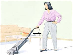 Woman standing straight and pulling vacuum cleaner towards her.