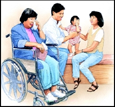 Woman in wheelchair holding tissue to eyes while crying. Man, woman, and baby in background.