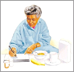 Woman at breakfast table with pill bottles writing on calendar.