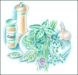 Salt-free seasonings: herbs, garlic, pepper, curry.