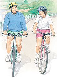 Man and woman bicycling with helmets on.