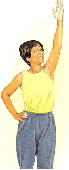 Woman standing with hand on hip and one arm raised.