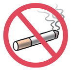 Cigarette with circle and slash on top indicating don't smoke.