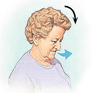 Woman tilting head forward, arrow shows her exhaling.