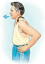 Man with hands on hips moving shoulders forward, arrow shows him exhaling.
