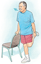 Man holding onto chair for support. One knee is bent with foot behind him. Other hand is holding ankle to the back of his leg. Arrow shows him exhaling.