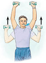 Man holding hand weights at shoulder height with arms bent. Arrows show him lifting weights overhead. Arrow shows him exhaling.