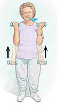 Woman holding hand weights at hip level, arms straight against body. Arrows show her lifting weights up by bending elbows. Arrow shows her exhaling.