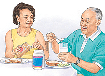 Man and woman sitting at table with food. Man is putting spoonful of protein powder into glass of milk.