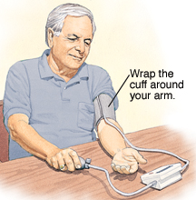 Man taking blood pressure at home with blood pressure cuff wrapped around upper arm.