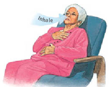 Woman sitting back in chair with one hand on chest and other hand on abdomen. Arrow shows her inhaling through nose.