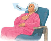 Woman sitting back in chair with one hand on chest and other hand on abdomen. Arrow shows her exhaling through mouth.