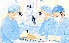 Three healthcare providers in surgical gowns, masks, and gloves performing surgery. One surgeon is looking through operating microscope.